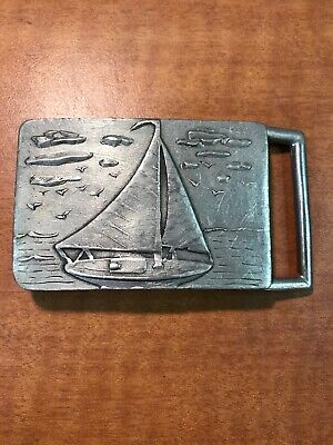Vintage BHS Pewter Sailboat Belt Buckle #5  Made in USA
