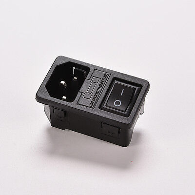 AC 250V 10A 3-pin Rocker Switch IEC320 C14 Power Inlet Socket With Fuse Hot W&M.