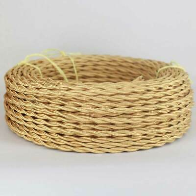 ANTIQUE BRASS ~ Antique Look TWISTED Cloth Covered Lamp Wire ~ 25 Foot Roll