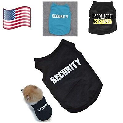 Dog T-Shirt Cat Puppy Vest Police/Security Coat Clothes Summer Apparel Costumes
