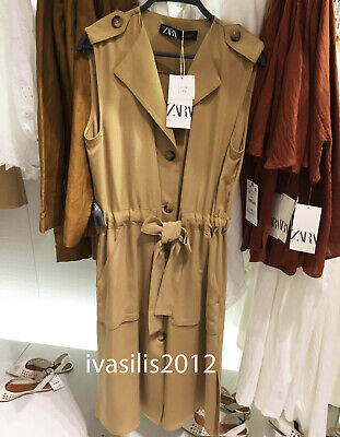 e4043db5774 Zara New Woman Midi Buttoned Waistcoat Dress Belt Side Vents Camel Xs-L  1971/