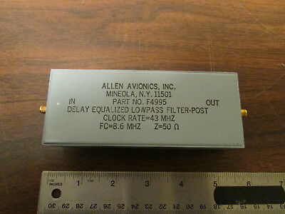Allen Avionics F4995 Delay Equalized Low Pass Filter Fc = 8.6MHz Z = 50 Ohms