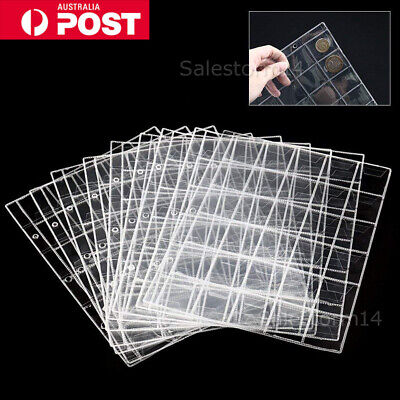 10pcs 30 Pockets Coin Holders Folder Pages Sheets For Collection Album Storage I