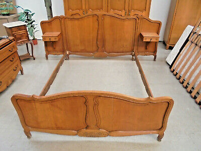Beautiful Vintage French Oak Louis XV 259cm Wide Bed With Bedsides Built In