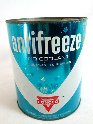 Vintage 1960's Conoco Anti-freeze & Coolant empty 1 gal. metal can