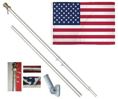 USA America 3 x 5 FT Flag + 6 Ft Silver Spinning Tangle Free Pole + Bracket