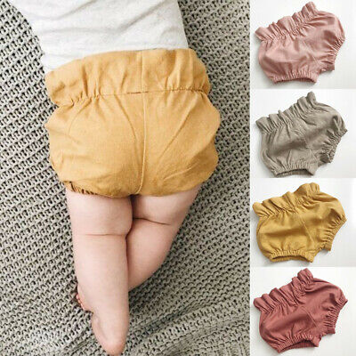 Summer Unisex Toddler Baby Girl Boy Solid Ruched Pants Shorts Briefs Trousers FR