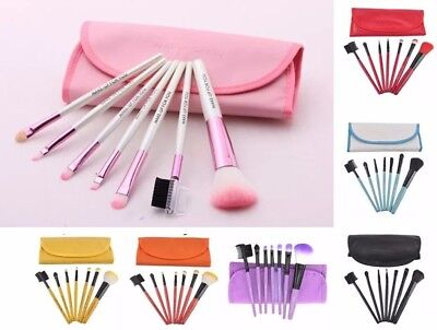 7Pcs Professional Cosmetic Make Up Eyeshadow Lip Powder Brush Set + Bag Case UK