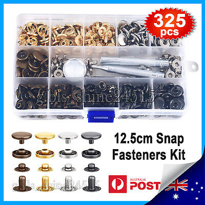 325pcs Metal Snap Fasteners Kit Press Studs Buttons Tool Women Men Craft Leather
