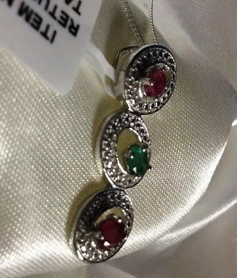3/4 Ct, Natural, Ruby, &, Emerald Pendant, Platinum On Sterling Silver, 18""