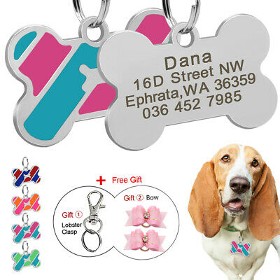 Personalized Dog Identification Tags Engraved Bone Pet Cat ID Name Tag Hair Bows