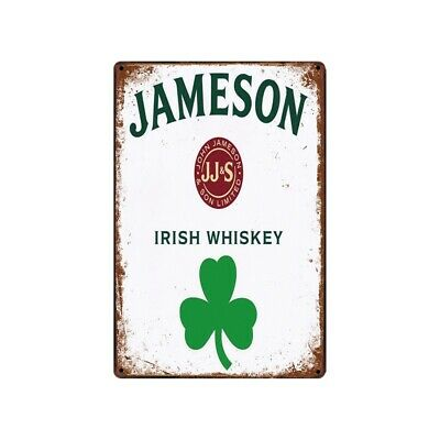 Jameson Irish Whiskey Tin Metal Sign Antique Rustic Advertising Wall Art decor
