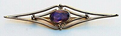 Victorian/Edwardian Style Yellow Gold 18 K and Amethyst Handmade Brooch