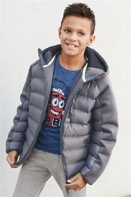 BNWT NEXT Boys Navy Blue or Grey Padded Jacket Coat With Hood 4-5 9-10-11-12 Y