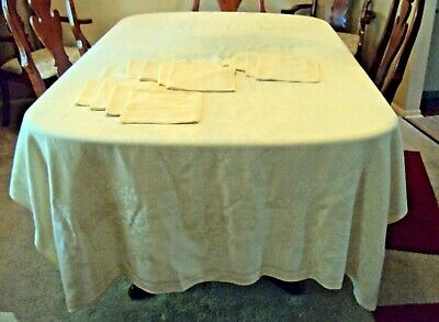 Vintage Linen Damask Ecru Banquet  102 x 62 Tablecloth with 12 Matching Napkins