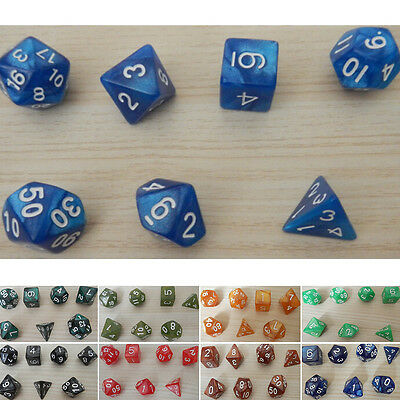 7Pcs D10 Multi-Sided Gem Dice Die for RPG Dungeons & Dragons DND D&D Game Set ZT