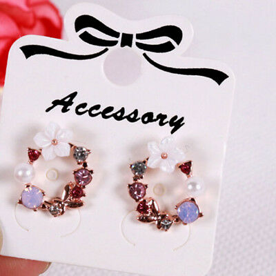 100* Jewelry display card ear studs earrings packing hang tag rectangle holde ZT