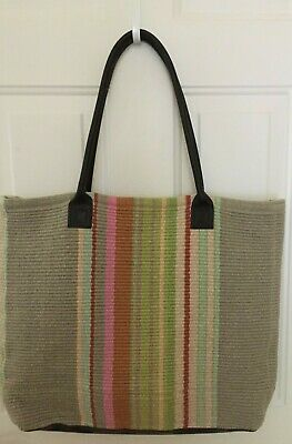 Dash & Albert Rug Company Handwoven Cotton Stone Soup Striped Tote Bag/Carryall
