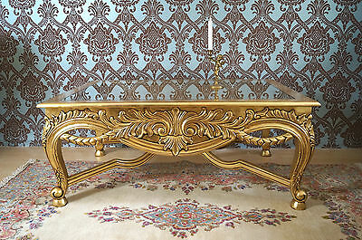 Splendid large coffee table fully gilt baroque style from a french castle