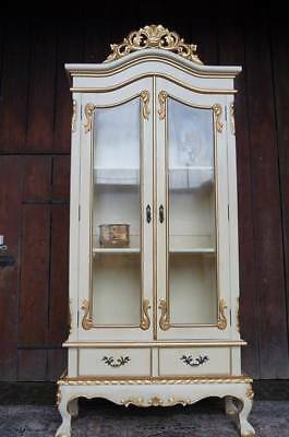 stunning cabinet vitrines bookcases black or beige and gold from a french castle
