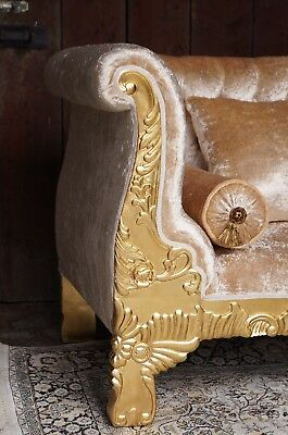 "Imposing 62"" sofa baroque style exclusive italian fabric from a french castle"