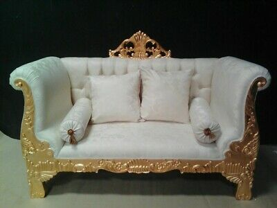 "Awesome 62"" sofa baroque style exclusive italian fabric from a french castle"
