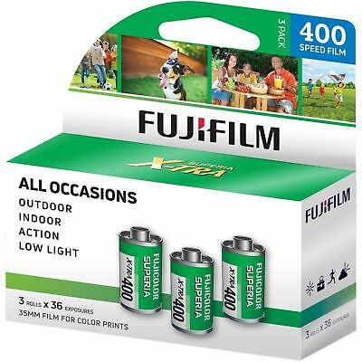 3 Pack Fuji Superia X-TRA CH ISO 400 36 Exp. 35mm Color Film,108 Exposures Fresh