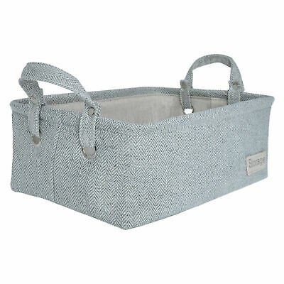 Fabric Storage Baskets And Bin, Organizer Set For Home, With Two Handles,  Gray