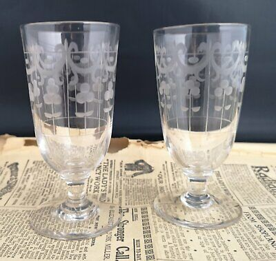 Antique Victorian glass tumblers, etched, pair