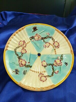 Wedgwood Majolica Plate with insects & flower pattern victorian c1870s?
