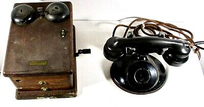 Antique Western Electric Desk Telephone Phone w/ Hanging Wood Bell Box