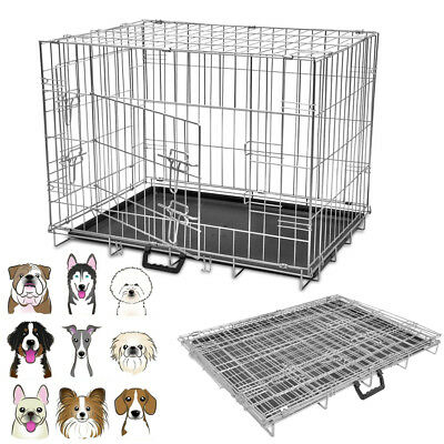 Folding Metal Pet Dog Puppy Cage Crate M L XL Training Carrier Transport Animal