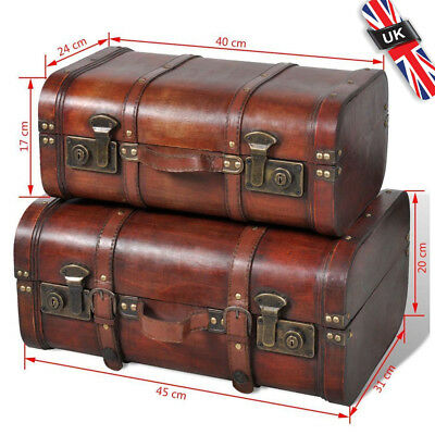 Set of 2 Retro Brown Vintage Wooden Treasure Box Storage Trunk Chest Case Trunk