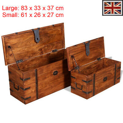 2 pcs Storage Chest Set Wooden Trunk Coffee Side Table Solid Wood Boxes handles
