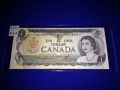 BANK OF CANADA 1973 $1.00 REPLACEMENT NOTE, *AA PREFIX - LOT i-2