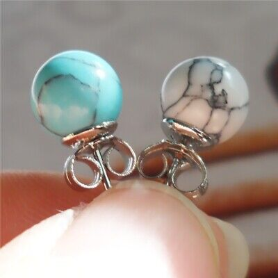 Vintage Women Marbling Earring 925 Silver Wedding Jewelry Ear Studs Gift  A pair