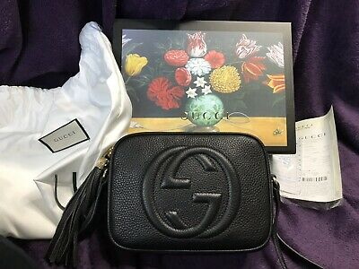 7de6f2a44 $1,190 GUCCI SOHO Disco Black Leather Crossbody Bag Handbag NEW ...