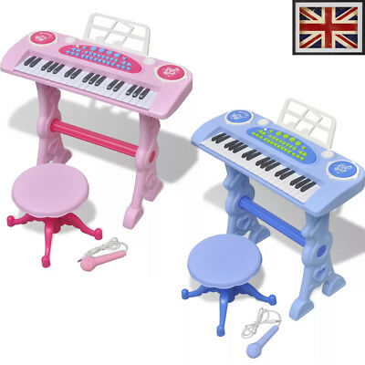 Kids Children Gift Toy Keyboard Piano Instrument with Stool/Microphone Pink/Blue