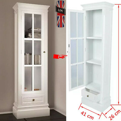 Chic Bookcase Bookshelf Cabinet with 3 Shelves White Shabby Wooden Display Home
