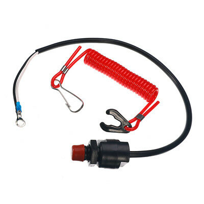Outboard Cut off Boat Motor Emergency Kill Stop Switch W/Safety Tether Lanyard