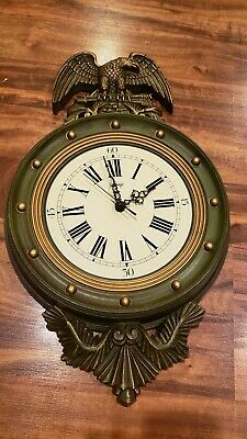 Vintage Burwood Retro Wall Clock Green Patriotic Eagle Victorian Style Arabesque
