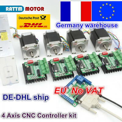 【fr】4 Axis Nema23 270oz-in 76mm Stepper Motor 3A Dual Shaft+MD430 Driver CNC Kit
