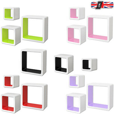 3 MDF Floating Cubes Wall Storage Book CD Display Shelf Shelves Square 5 Colours