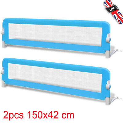 2x Toddler Safety Bed Rail Blue 150x42cm Cotbed Protective Gate Guard Protect UK