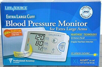 LifeSource A&D Medical Extra Large Cuff Blood Pressure Monitor 60 Memory  NEW