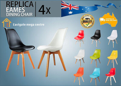 4 x Retro Replica Eames Chair DSW Dining Lounge Cafe Seat Fabric Padded Chair