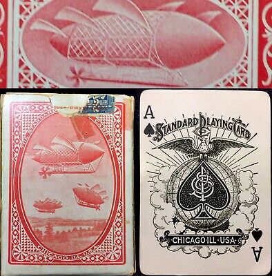 c1908 Historic Antique Playing Cards Zeppelin Dirigible Airship 52/52 Rare Deck