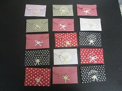 Die Cuts  Mini Envelopes  12  Patterned  Paper  With  Bows   Variety