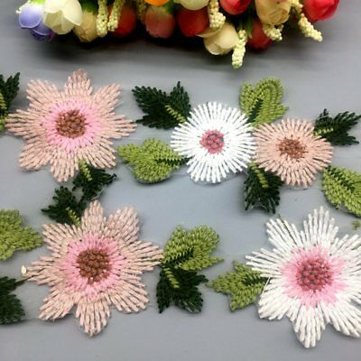 2 Yard Flower Leaves Lace Trim Ribbon Wedding Applique Embroidered Sewing Craft