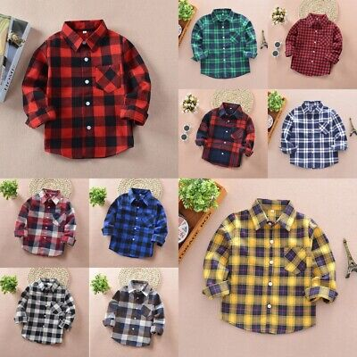 Kids Boys Girls Plaid Flannel Check Long Shirts Button Down Blouse Top Age 2-12Y